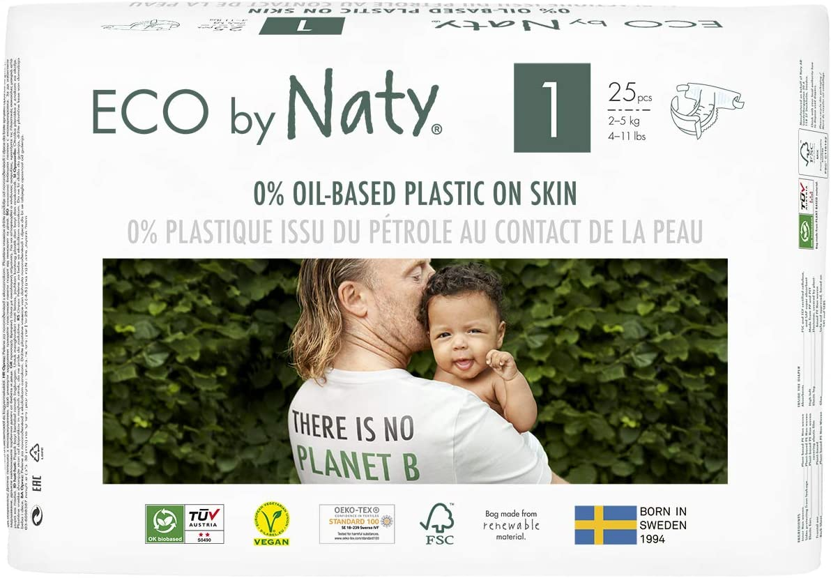 Eco by Naty, Size 1, 100 Diapers, 4-11 lbs, ONE MONTH supply, Plant-based premium ecological diaper with 0% oil plastic on skin