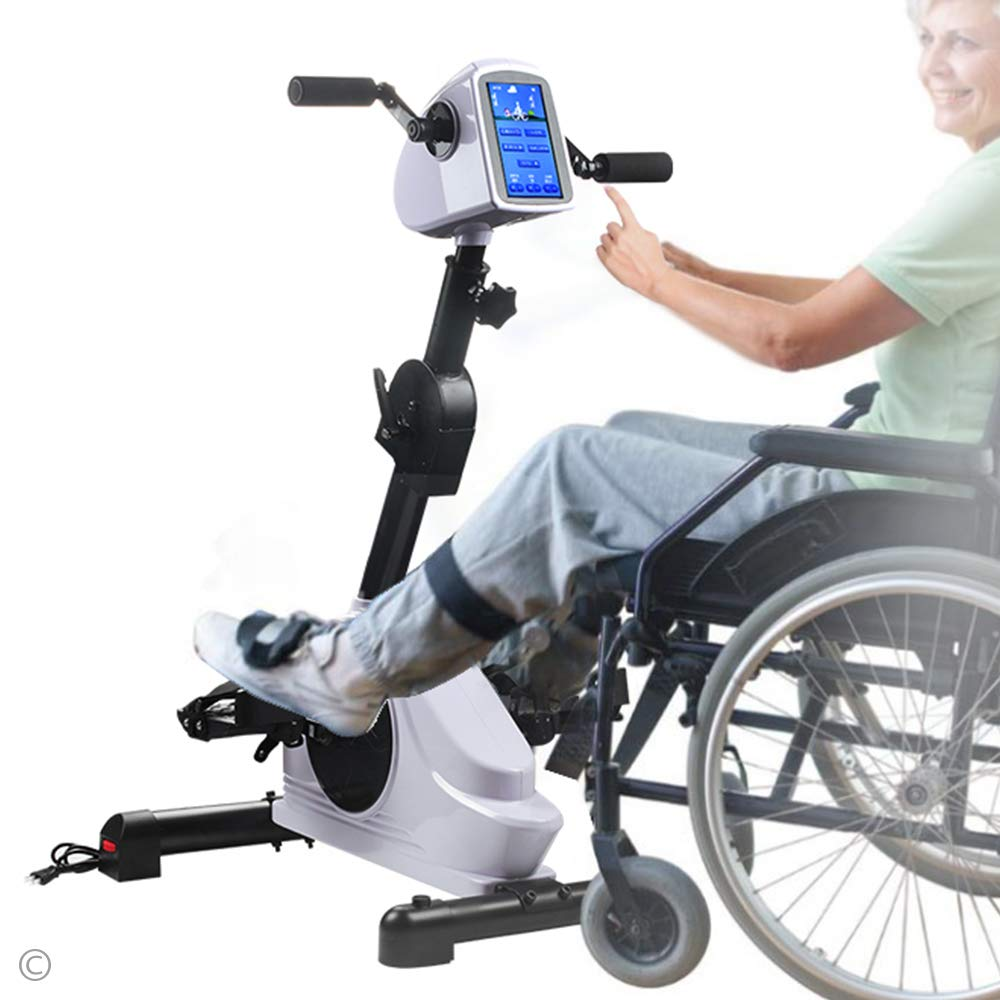 Rehab Bike Pedal Exerciser Electronic Physical Therapy Arm Leg Health Exerciser with 7 Display Touchscreen Recovery Cycle for Handicap, Disabled and Stroke Survivor