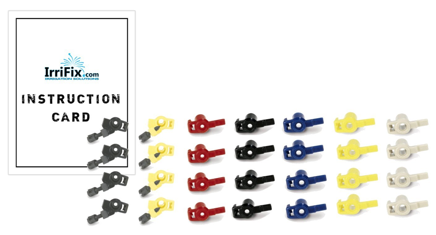 Rain Bird Nozzle Set for Maxi Paw 2045A and Maxi Bird 2045-PJ Impact Rotor Sprinkler Heads with Instruction Card by IrriFix Irrigation Solutions - 4 Sets of 7 Nozzle Variations