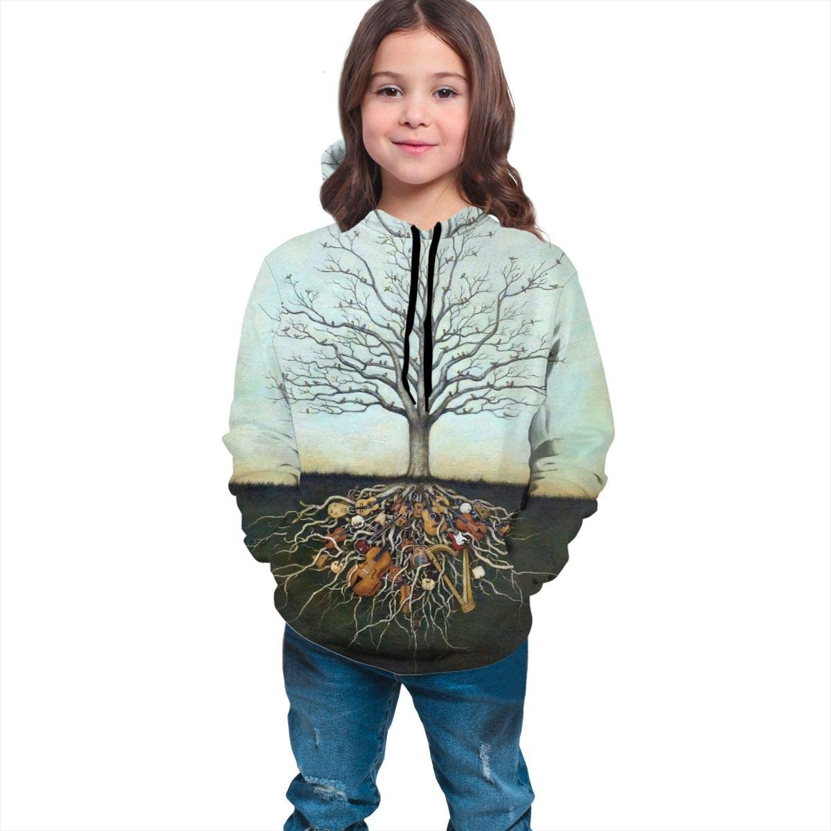 Kjiurhfyheuij Teen Pullover Hoodies with Pocket Music Tree Life Soft Fleece Hooded Sweatshirt for Youth Teens Kids Boys Girls