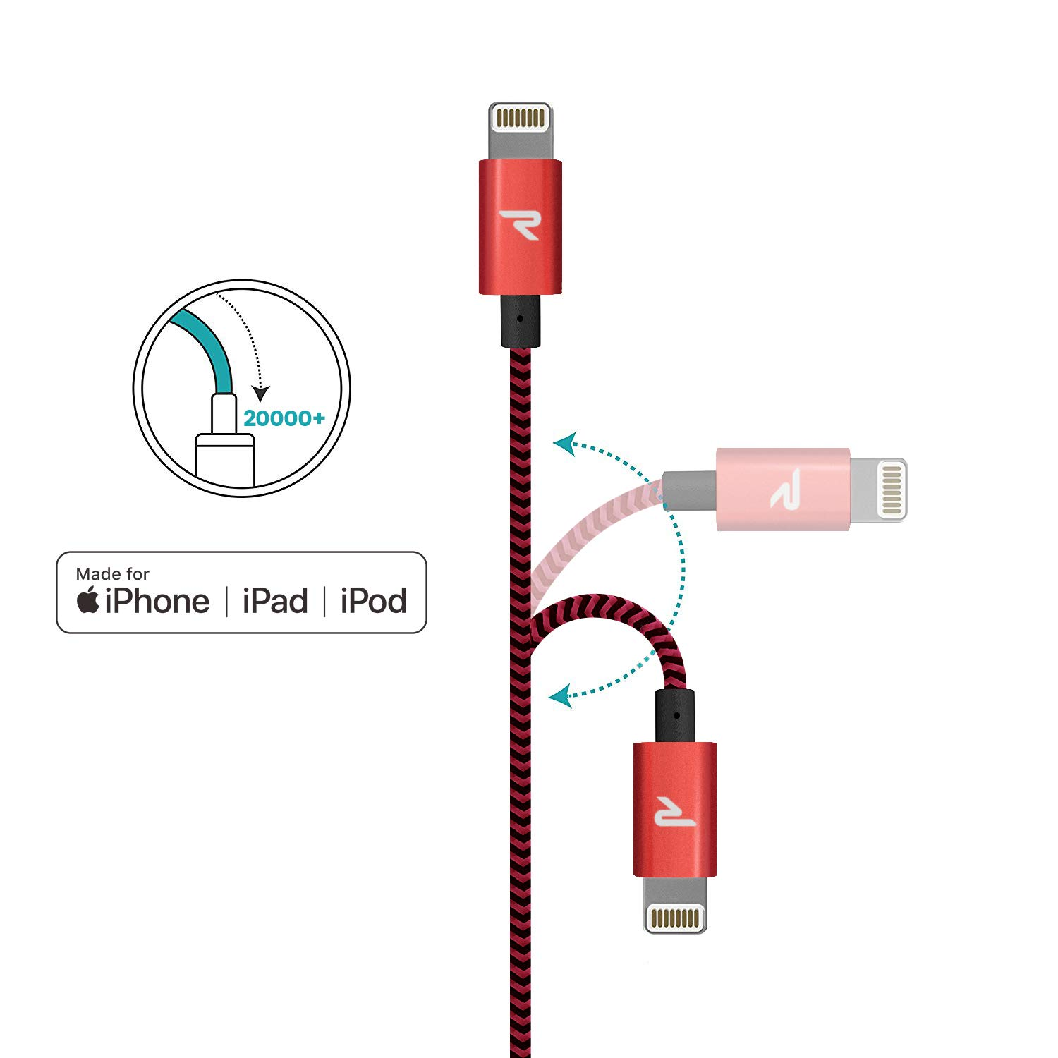 Rampow Cable iPhone Cable Lightning 2M Cargador iPhone [Apple MFi Certificado] Nylón Duradero Compatible con iPhone 11 11 Pro XS MAX XR X 8 7 6S 6 5 ...