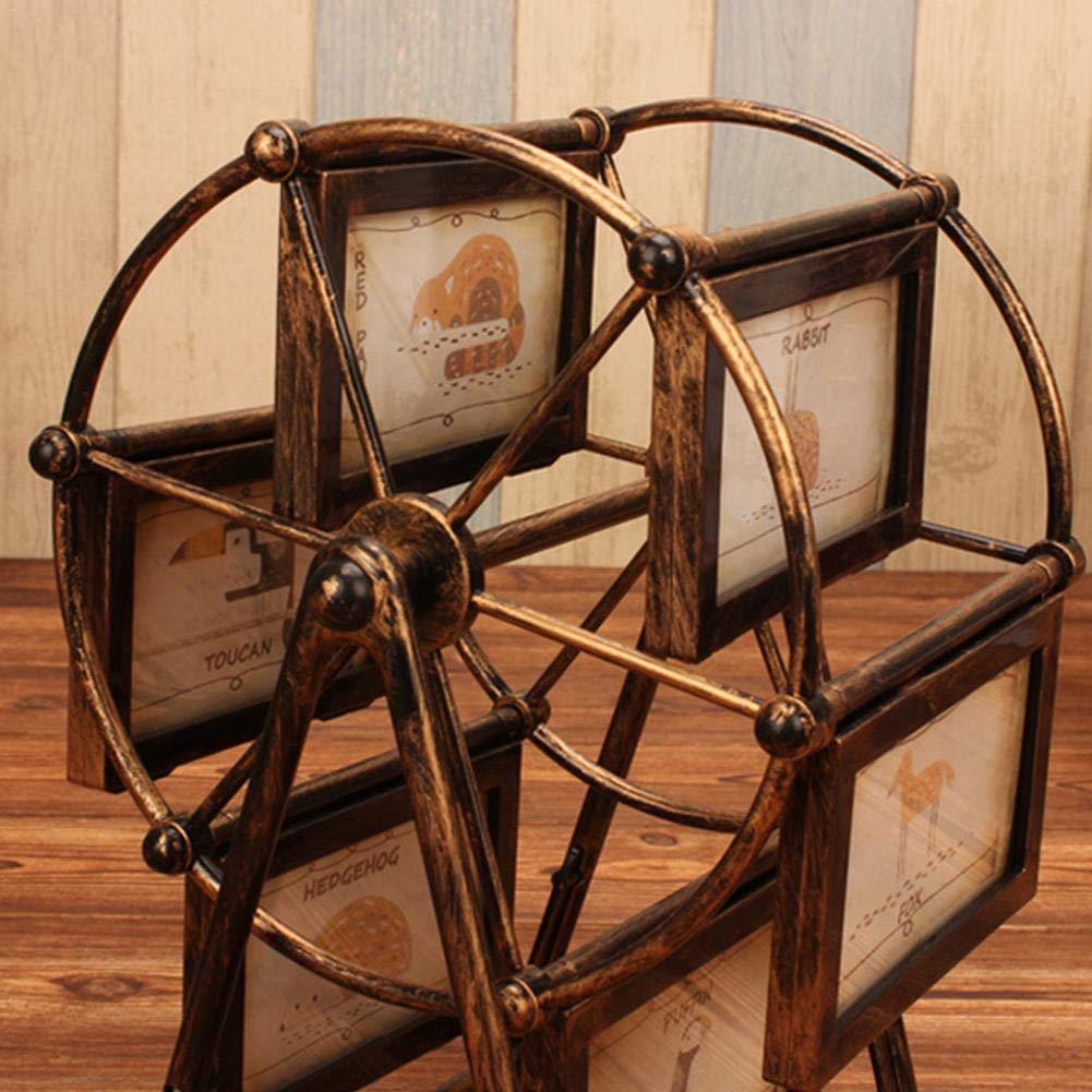 Marco giratorio de la foto de la rueda de la fortuna, decoración del escritorio de la mesa del marco de la forma del molino de viento retro y el álbum ...