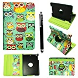 Kamal Star® Apple iPad mini / iPad mini 2 / iPad mini 3 Premium PU Leather 360-Degree Rotating Case Cover + Stylus (Design 01 Multi Owl)