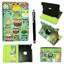 Kamal Star® Apple iPad mini / iPad mini 2 / iPad mini 3 Premium PU Leather 360-Degree Rotating Case Cover + Stylus (Design 01 Multi Owl)