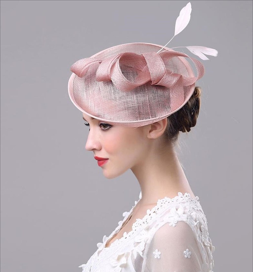 Nwn Bridal Hat Retro Style Linen Mesh Cap European Style Headdress Women Elegant Hat Hair Clip Accessories (Color : Meat Powder)