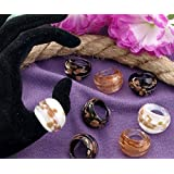 Ecloud Shop® 12X Bague Verre Murano Lampwork 3 Couleurs Rond 17-19mm