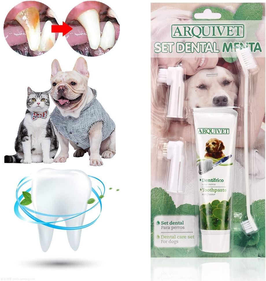 Pasta Dental Perros, Dog Toothpaste, Cepillo de Dientes para Perro, Cuidado Dental para Perros y Gatos, Mejorar la Higiene Oral Previene la Enfermedad de Las Encías y la Placa, Refrescar el Aliento