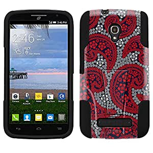 Alcatel OneTouch POP Mega Hybrid Case Paisley Red and Flowers on Navy 2 Piece Style Silicone Case Cover with Stand for Alcatel OneTouch POP Mega