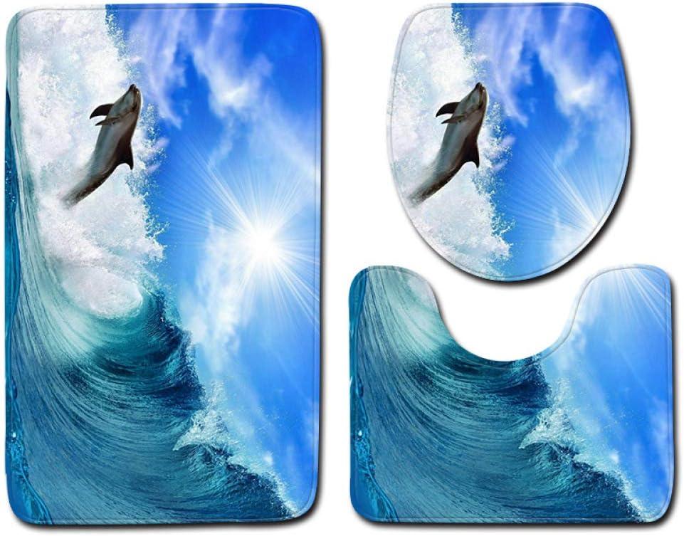 DREAMING-Dolphin Marine Alfombra De Baño De Estilo 3D Alfombra De Piso Antideslizante Alfombra De Franela Alfombra De Puerta Alfombra Juego De 3 Piezas 45cm * 75cm