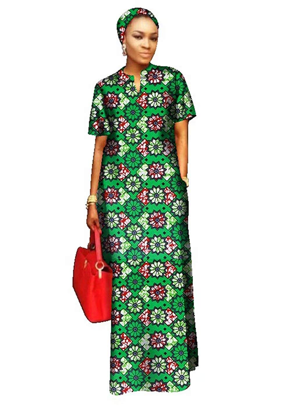 24fs1146 BintaRealWax Womens Straight Cut Ankara Maxi Dress Short Sleeve African Dress & Head Wrap
