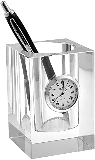 Badash – Crystal Pen and Pencil Holder with Clock 3.5