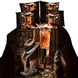 3D Modern Cowboy Hat Boots Print Bedding Set Comforter Set Duvet Cover Bed Linens Boy\'s Bedroom ,King Size/4pcs