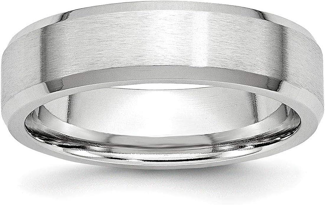 Jewel Tie Cobalt Satin and Polished Ridged Edge 8mm Wedding Band