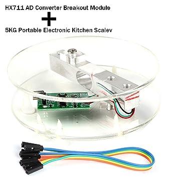 Innovateking-EU Sensor de Peso de celda de Carga Digital HX711 AD Converter Breakout Module Báscula de Cocina electrónica portátil 5KG para Escala de ...
