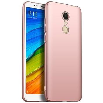 GOGME Funda para Xiaomi Redmi 5 Plus, Carcasa de Cuero Flip Case, Oro Rosa