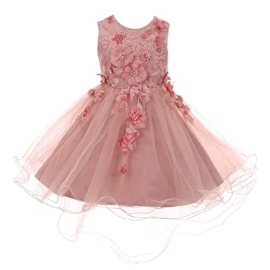 561a0ccb25 Cinderella Couture Big Girls Dusty Rose 3D Floral Appliques Hi-Low Tulle  Junior Bridesmaid Dress