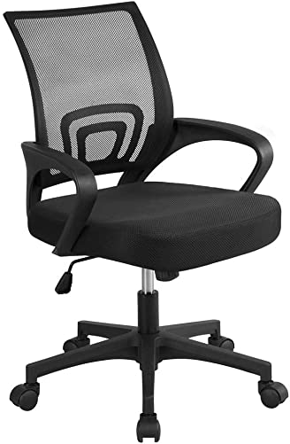 Topeakmart Office Chair Mid Back Swivel Lumbar Support Desk Chair, Computer Ergonomic Mesh Chair with Armrest, 360 Rolling Casters Black