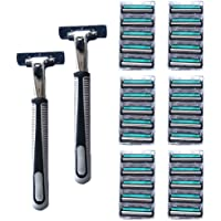 Deals on Razors for Men - Razor Stand + 30 Razor Blades (1 Pc)