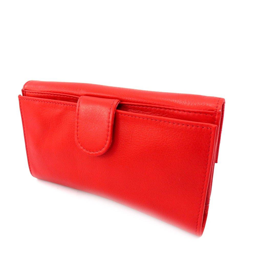 Wallet checkbook holder leather Frandi red.
