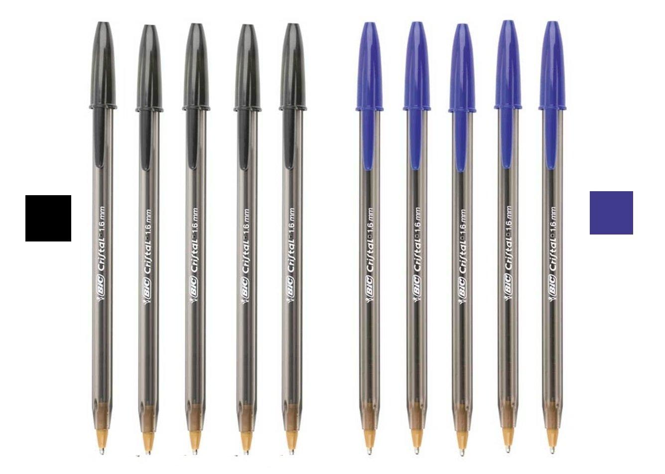 Bic 1.6mm Large Black & Blue Bold Ink Pen - 5 Black & 5 Blue