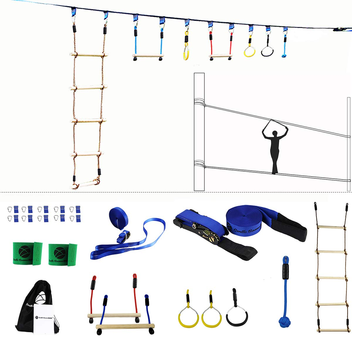 Gentle Booms Sports Ninja Line Obstacle Course Kit Monkey Bar Kit 40 Foot, Kids Slackline Hanging Obstacle Course Set, Extreme Training Equipment for Outdoor Play by Gentle Booms Sports