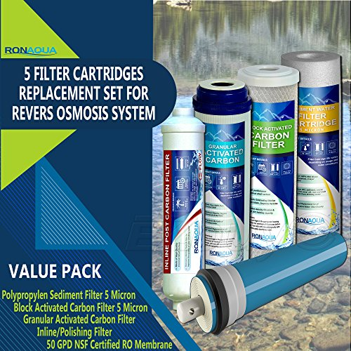 5 Produce Reverse Osmosis FULL Replacement Water Filter Kit with 50 GPD Membrane