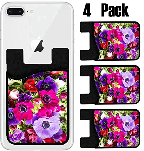 MSD Phone Card holder, sleeve/wallet for iPhone Samsung Android and all smartphones with removable microfiber screen cleaner Silicone card Caddy(4 Pack) IMAGE ID: 27897256 colorful buttercups - Bouquet Buttercup