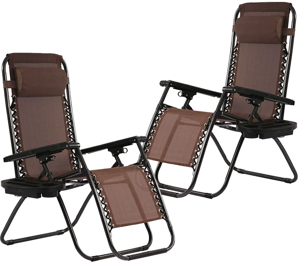 FDW Zero Gravity Chairs Set of 2 with Pillow and Cup Holder Patio Outdoor Adjustable Dining Reclining Folding Chairs for Deck Patio Beach Yard (Brown)