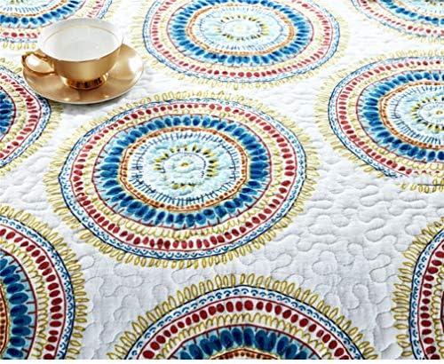 ADGAI Ensemble de Linge de lit en 100% Coton réversible Patchwork Patchwork avec 3 taies d'oreiller, 230cm x 250cm, Cercle Jaune et Bleu