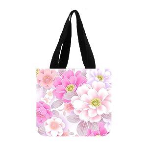 JIUDUIDODO Cotton Canvas Custom Pink Tote Bag Casual Bags Shopping Bags Shoulder Bags (2 Sides)
