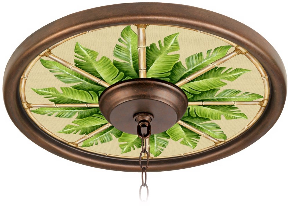 Pacific Palm 16'' Wide Bronze 4'' Opening Medallion