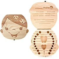 Aiky Wooden Baby Tooth Fairy Box Teeth Holder for Kids Lost Teeth Keepsake Save Collection (Girl)
