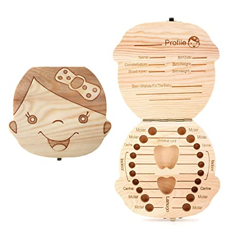 Amazon.com : Aiky Wooden Baby Tooth Fairy Box Teeth Holder for Kids Lost Teeth Keepsake Save Collection (Girl) : Baby