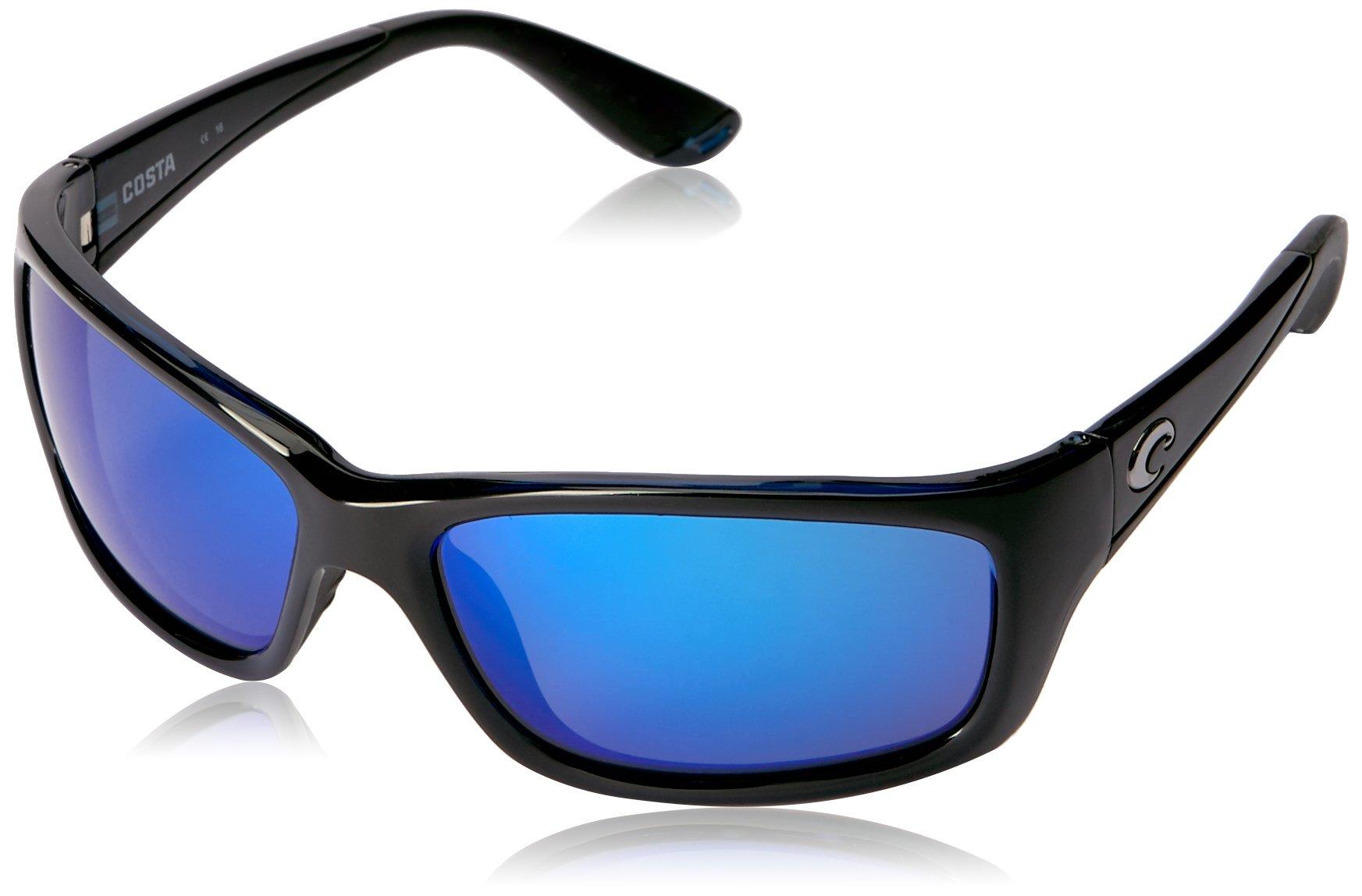 Costa Del Mar JO11OBMGLP Jose Shiny Black Blue Mirror 580Glass Polarized Lens Sunglasses by COSTA DEL MAR