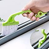 Rachees Multipurpose Cleaning Brush with Dust Dirt Scraper for Sliding Windows Track, Bath Fittings (Random Colours, Medium)