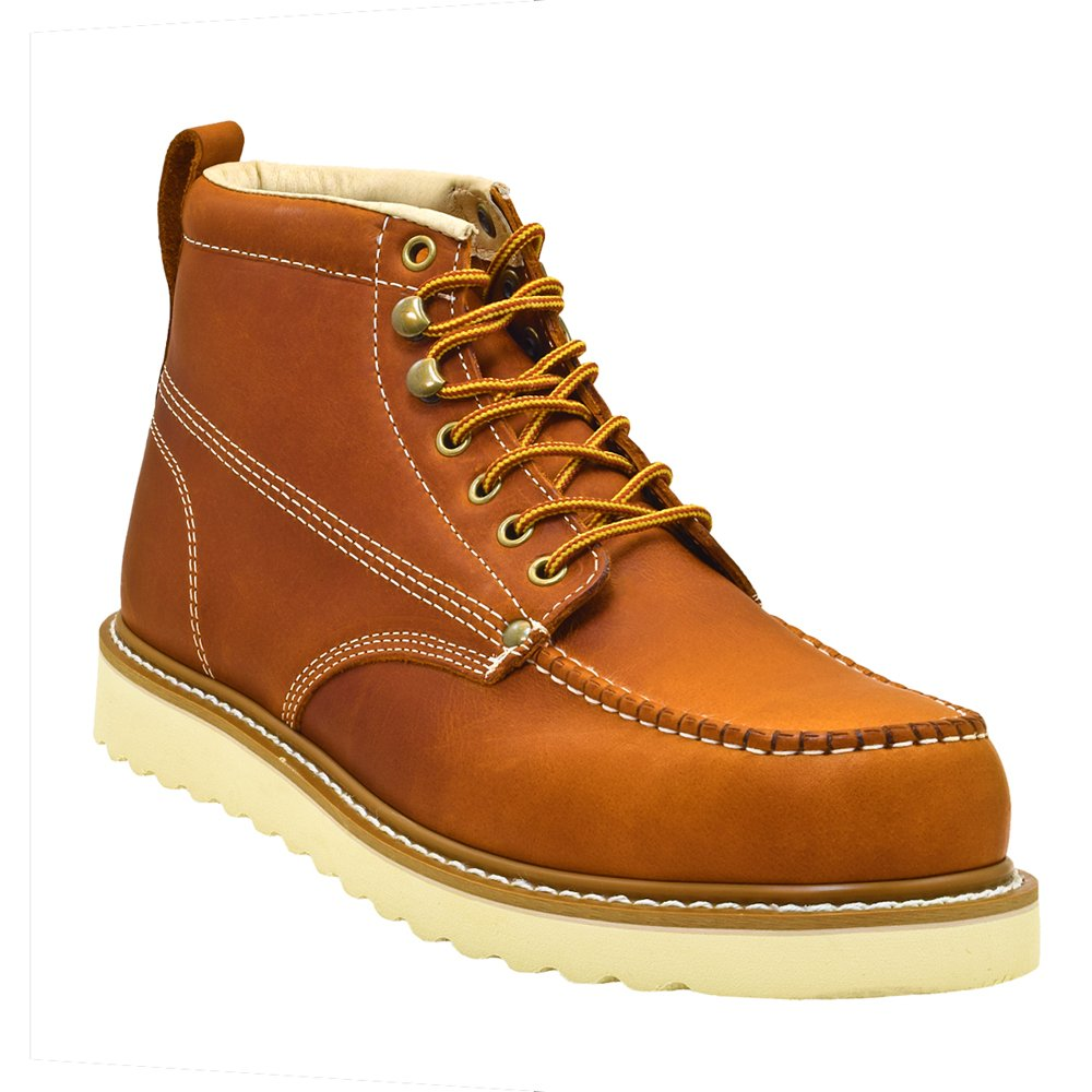 Golden Fox Oil Full Grain Leather Moc Toe Light Weight Work Boots for Men Brown 10.5 D(M)