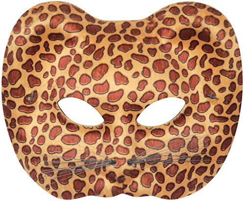 Loftus International Leopard Halloween Costume Face Mask Brown Tan One Size Novelty (Leopard Faces For Halloween)