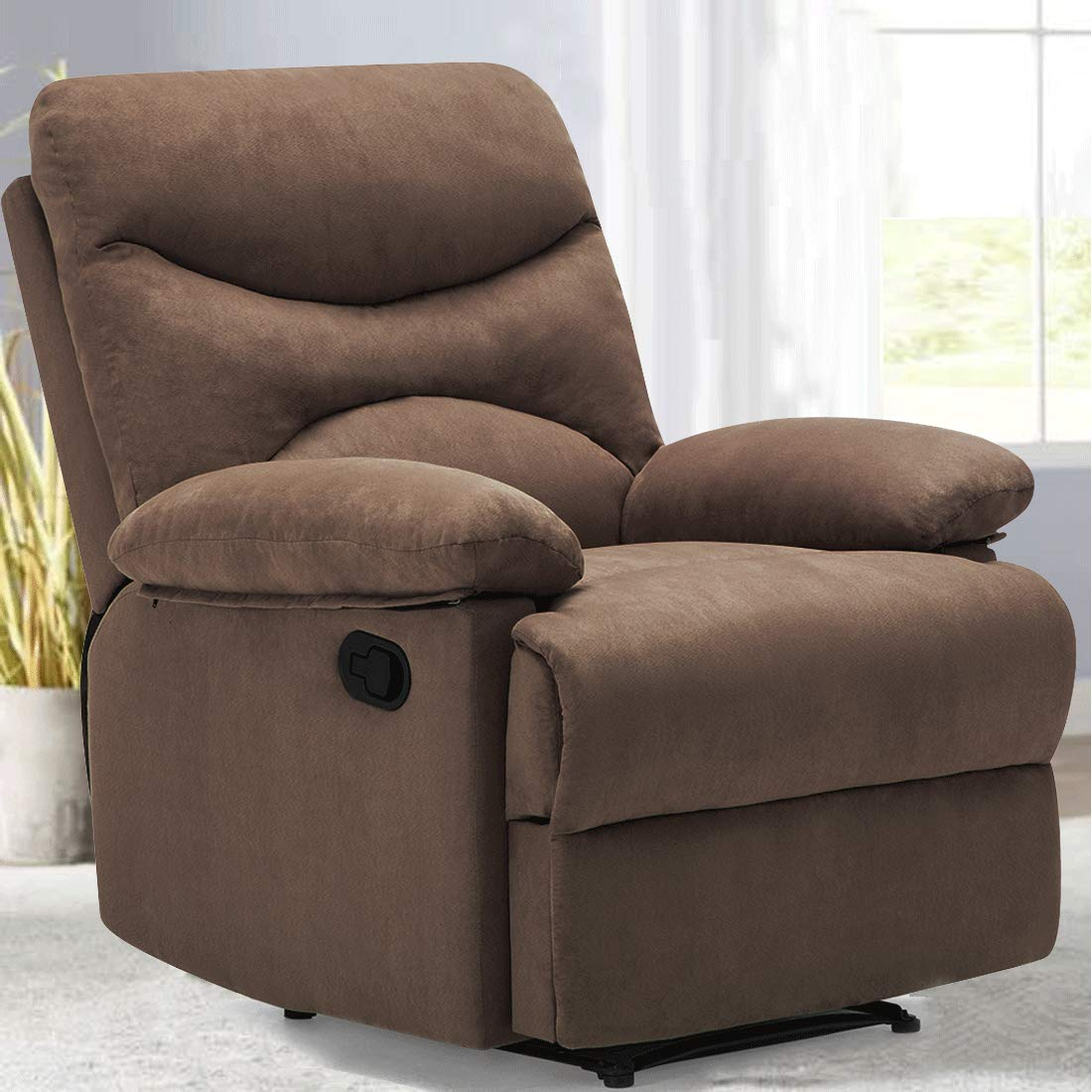 FRIVITY Chair Recliner, Microfiber Ergonomic Sofa Living Room Sofa with Heated Control Home Theater Seating Fit for Elder Age, Brown by Frivity