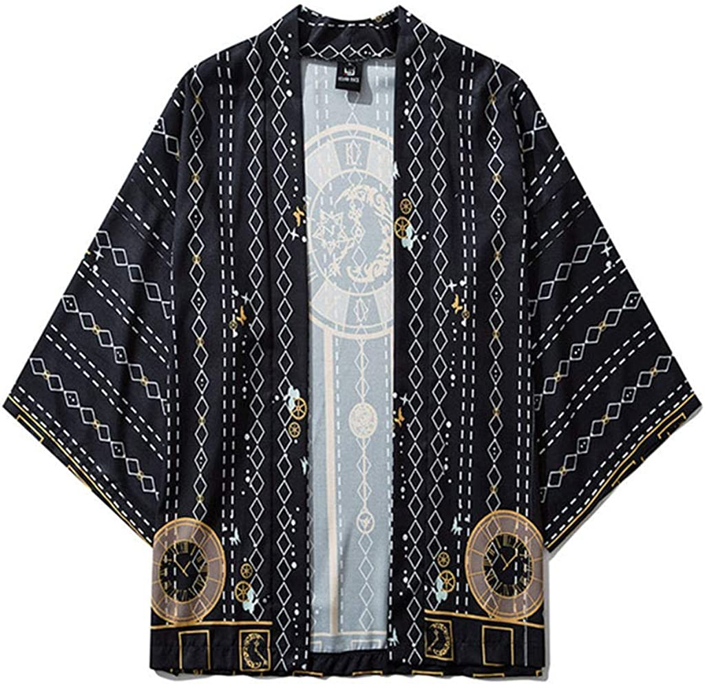AMOMA Mens Kimono Cardigan Front Open Casual Vintage Coat Breathable Loose Anime Naruto Printed Lightweight Top