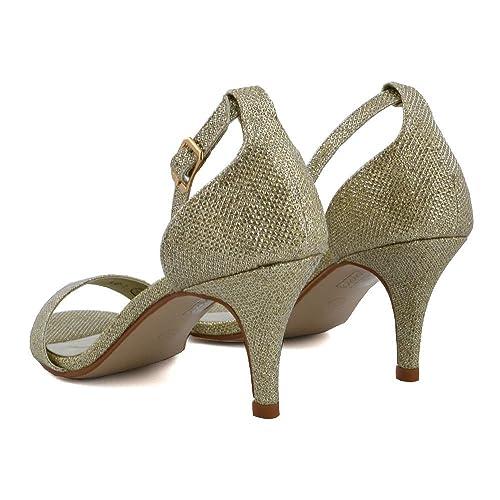 ESSEX GLAM Mujer Diamante Correa de Tobillo estilete Peep Toe Oro Resplandecer Sandalia EU 38 lTG66iwjh