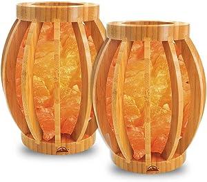 Himalayan Glow 1348B Bamboo Basket Night Light with Pink Salt Chunks, 2-Pack
