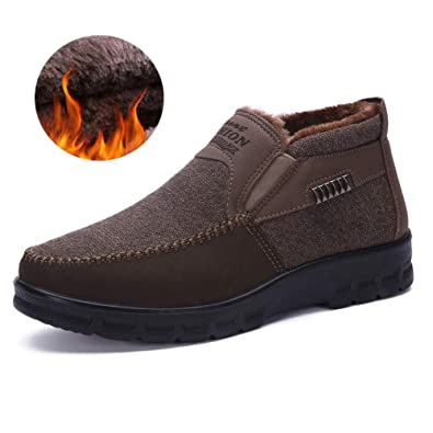 8562306e7bf Asifn Men s Snow Boots Moccasins Slippers Plush Loafers Warm Lined Driving  Indoor Outdoor Winter Non-