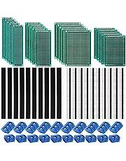 Kyrio 60PCS PCB Board Kits 20PCS Dubbelzijdige PCB Prototype Boards 20PCS 2/3 Pin Printplaat Schroefklem 20PCS Mannelijke/Vrouwelijke Header Connector voor DIY Solderen