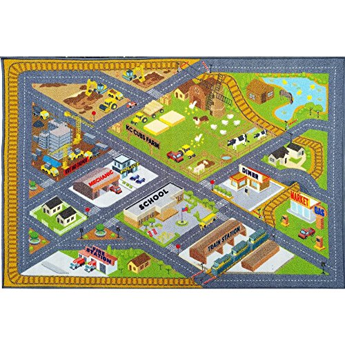 KC CUBS Playtime Collection Country Farm Road Map With Construction Site Educational Learning Area Rug Carpet For Kids and Children Bedroom and Playroom (5' 0'' x 6' 6'') by Kev & Cooper