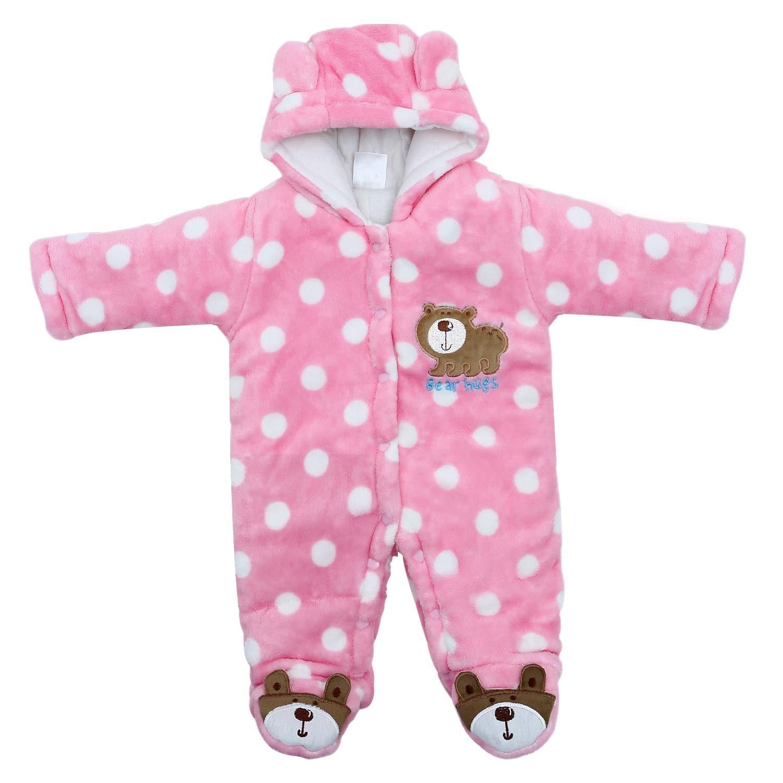 Newborn Snowsuit Baby Girl Winter Clothes, Infant Babies Girl Romper Pink