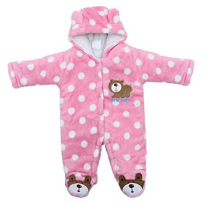 a5a194d505ab Amazon.com  Newborn Snowsuit Baby Girl Winter Bodysuit Clothing ...
