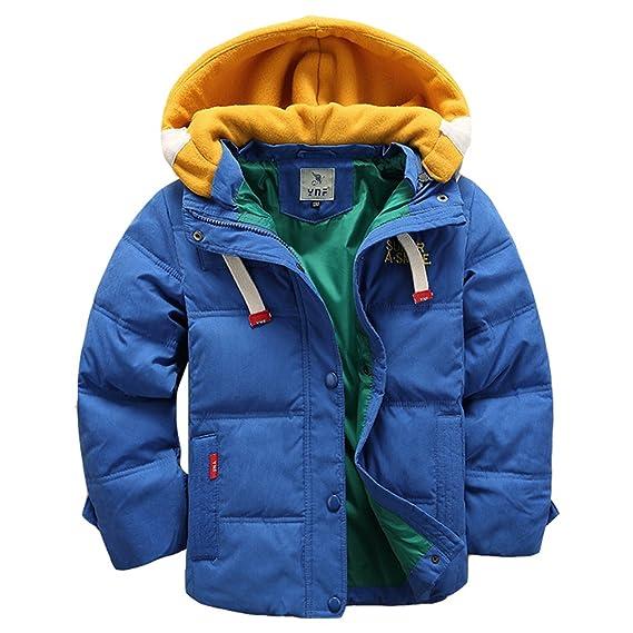 ad6f6fdd3fd0 LSERVER Doudoune pour Garçon Veste d hiver avec Capuche Amovible Doudoune  Manches Longues Enfant Manteau