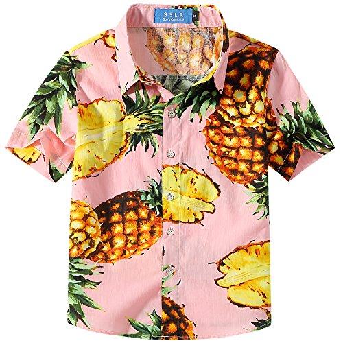 SSLR Big Boy's Pineapple Holiday Short Sleeve Aloha Hawaiian Shirts (Medium(10-12), Pink) -