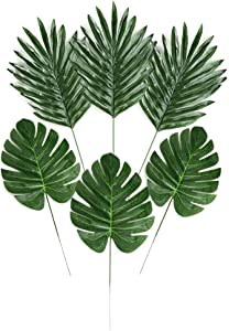 LJDJ Artificial Palm Leaves with Stems - 24 Pcs 2 Kinds Faux Tropical Plant Monstera Decoration Leaf - Safari Hawaiian Luau Party Suppliers Baby Shower Pink Flamingo Jungle Beach Birthday Table Decor