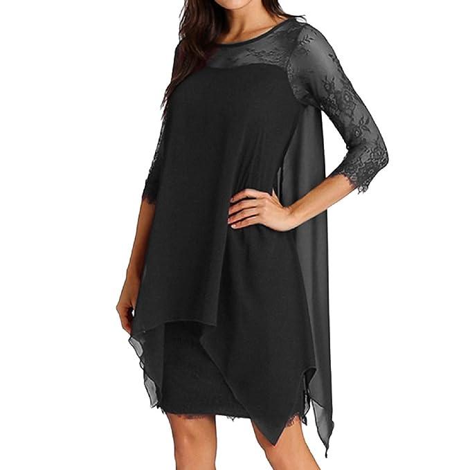 86917bb3b97b FAPIZI Women Solid O-Neck Asymmetrical Hem Lace Chiffon Long Sleeve Casual  Overlay Plus Size